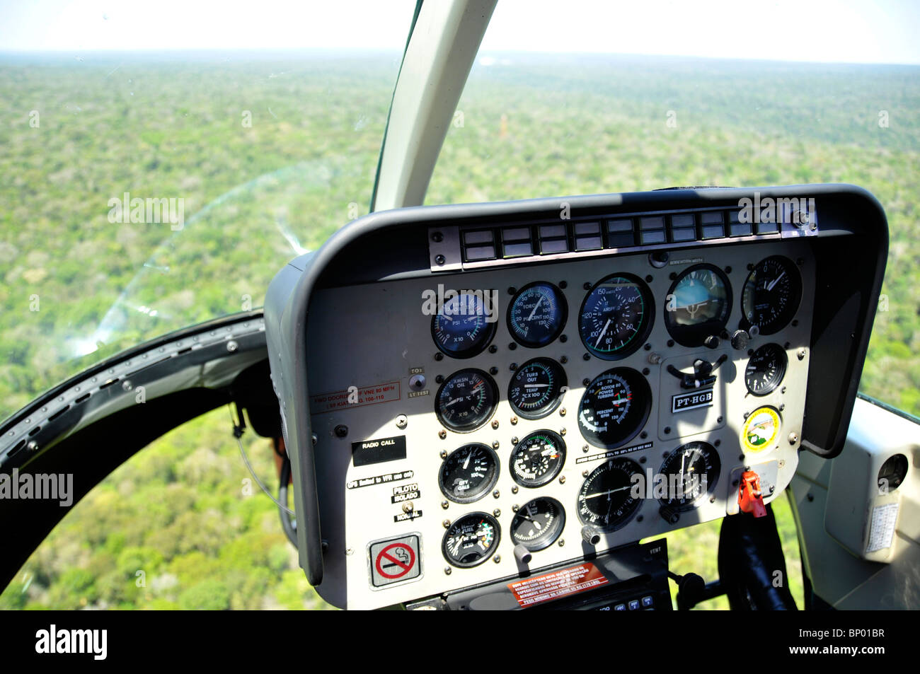 Helicopter cockpit view - Stock Image