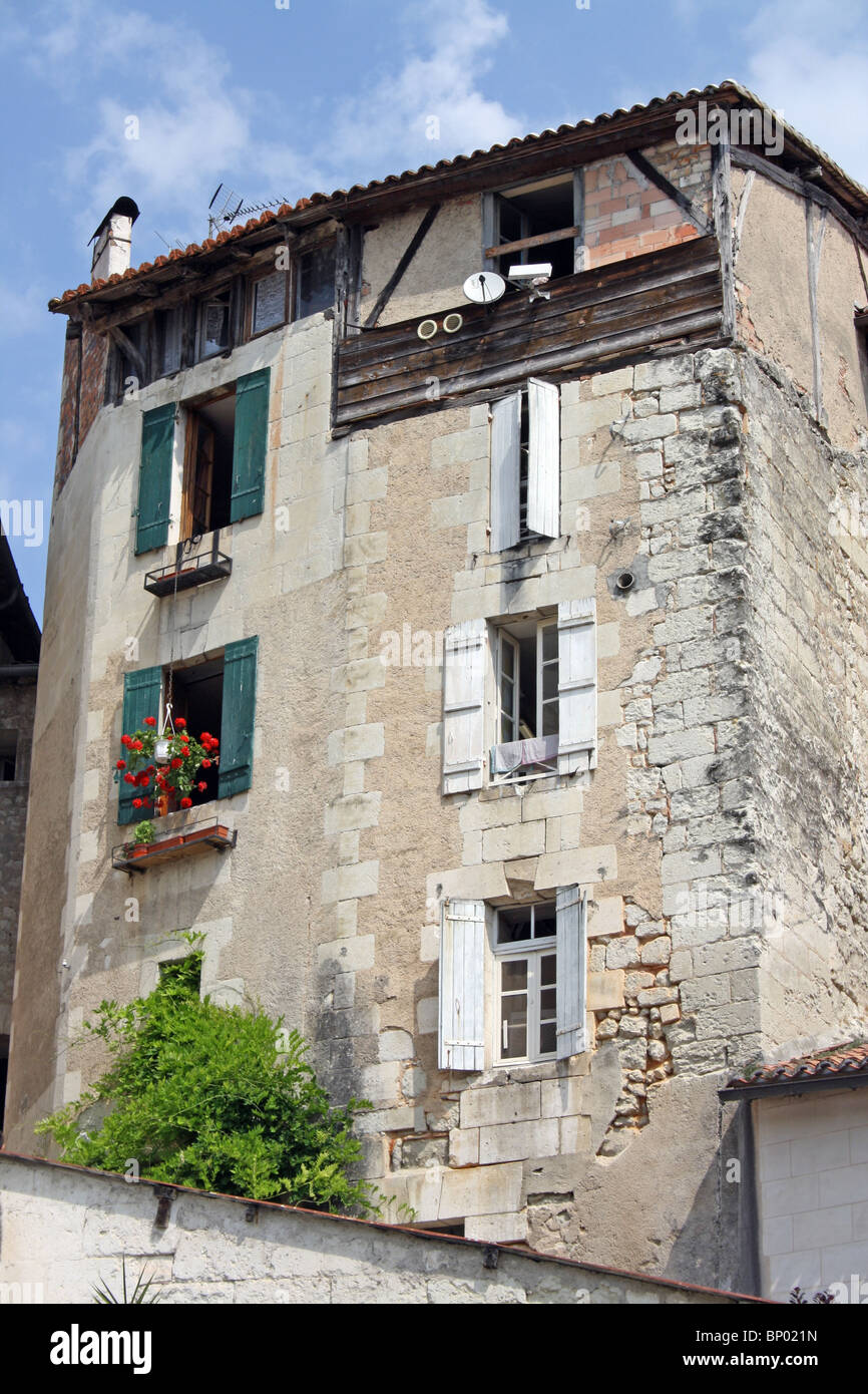Two tall houses Aubeterre-sur-Dronne, SW France - Stock Image