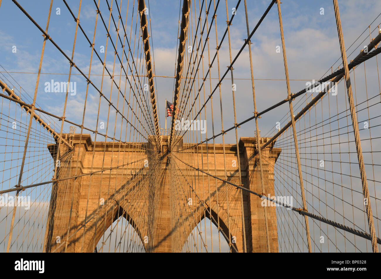 The Brooklyn Bridge spans the East River, connecting the New York City boroughs of Brooklyn and Manhattan. It dates - Stock Image