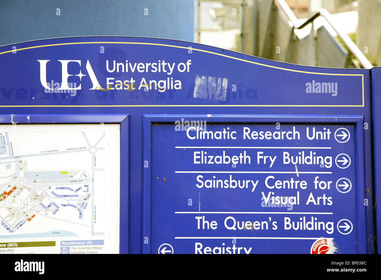 University of East Anglia directions board showing the climatic research unit. - Stock Image