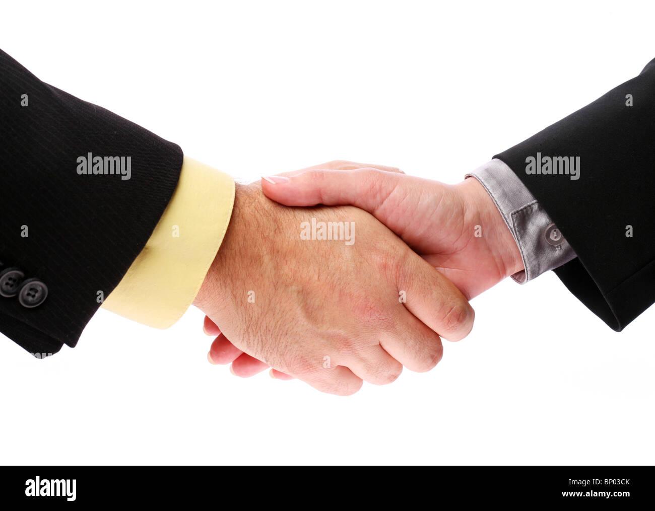 handshake, men and women on a white background Stock Photo