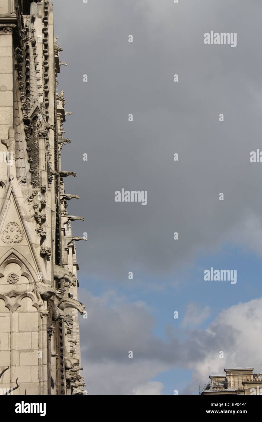 Paris, Cathedral of Notre Dame, gargoyles, finials and crockets on the north side against a stormy sky. - Stock Image