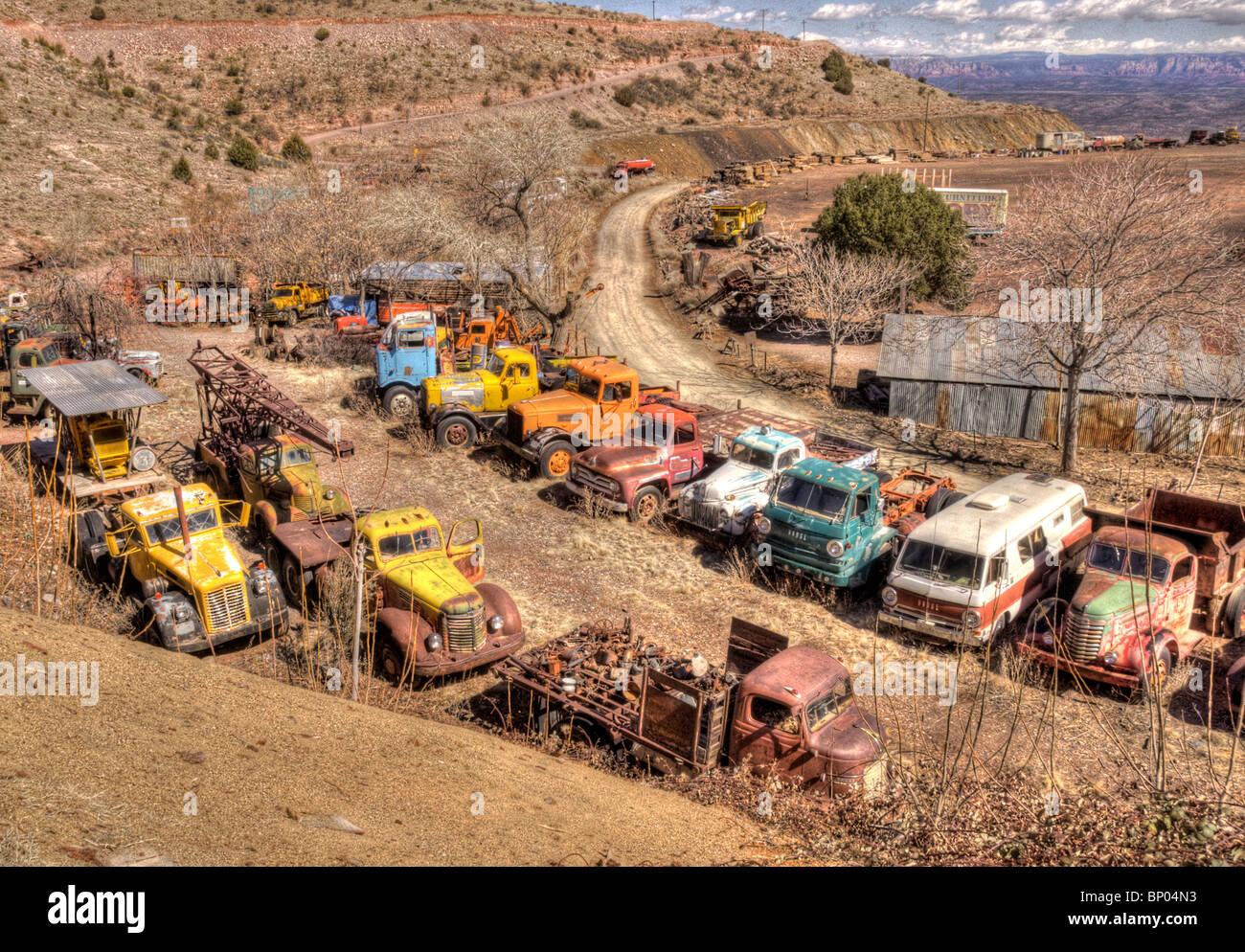 Old trucks Junk Yard Jerome Arizona Stock Photo