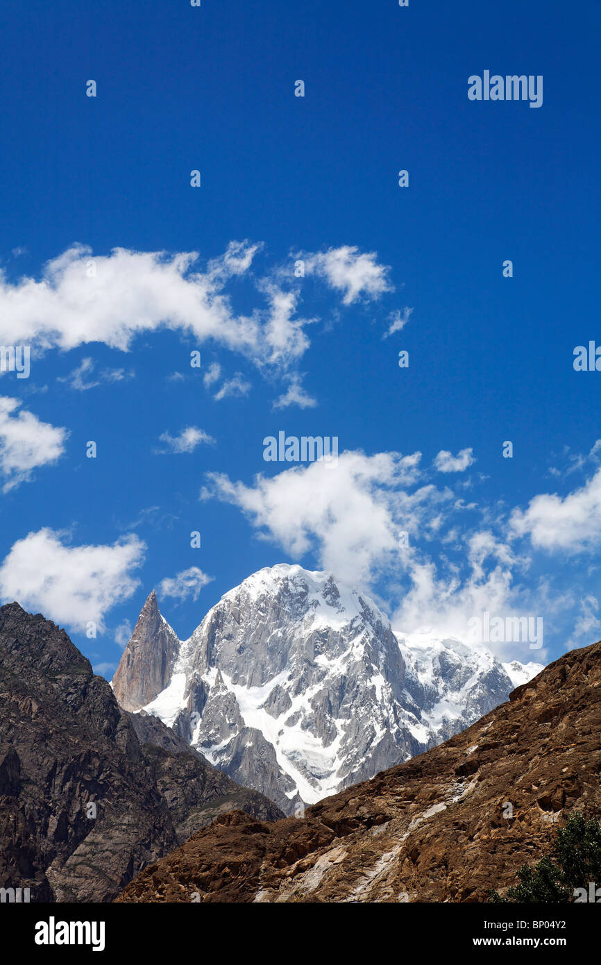Pakistan - Karakorum - Hunza Valley - Hunza Peak and Lady's Finger Peak - Stock Image