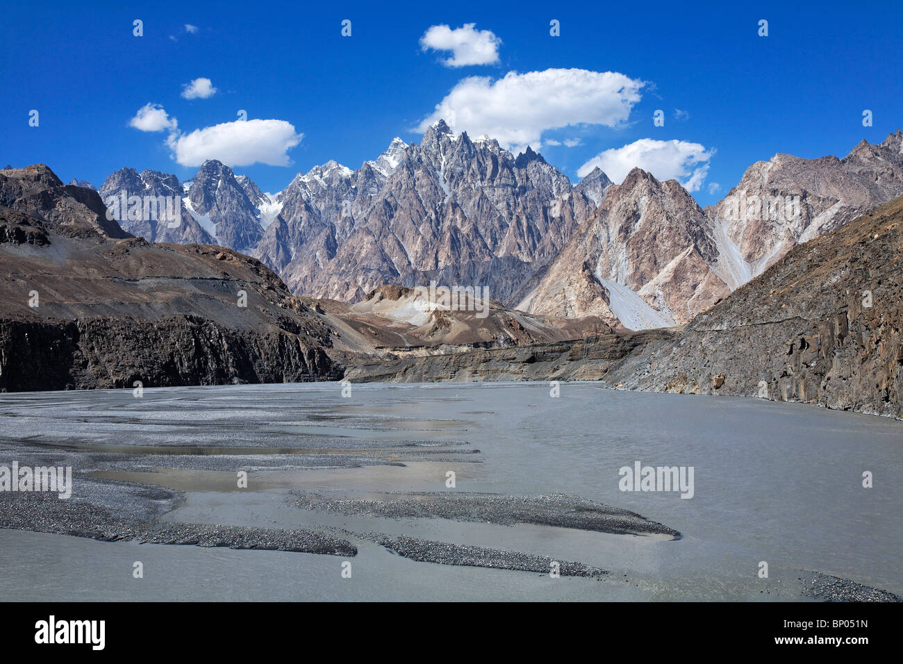 Pakistan - Karakorum - Hunza Valley - Passu - Cathedral spires mountain peaks Stock Photo