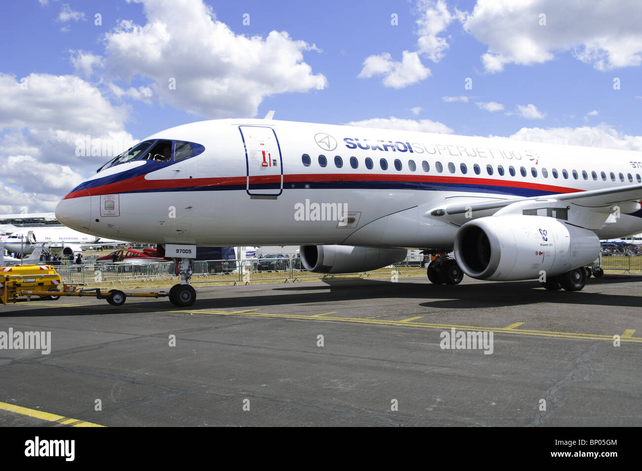 Sukhoi Superjet 100 at the Farnborough Airshow - Stock Image