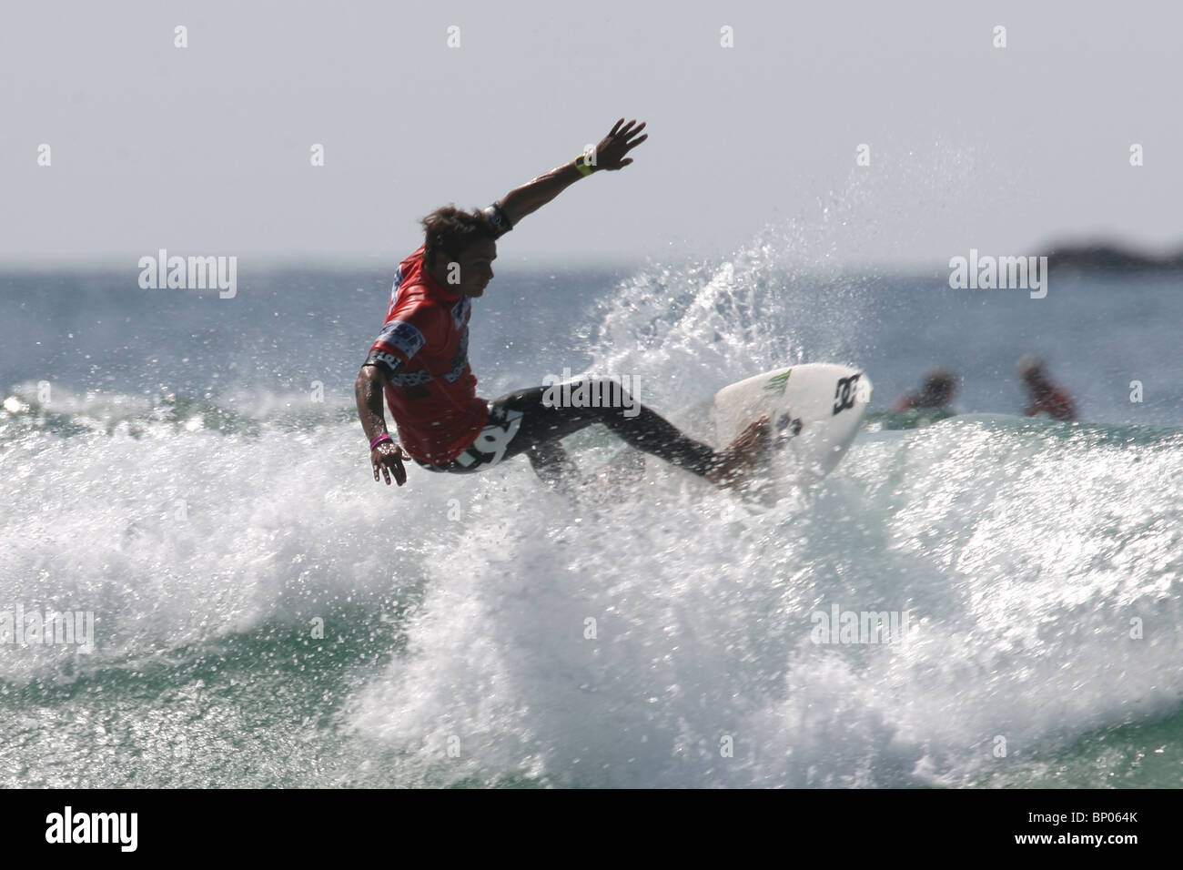 Frenchman Marc Lacomare, winner at the Relenless Boardmasters surfing competition, Newquay, Cornwall, August 8th. - Stock Image
