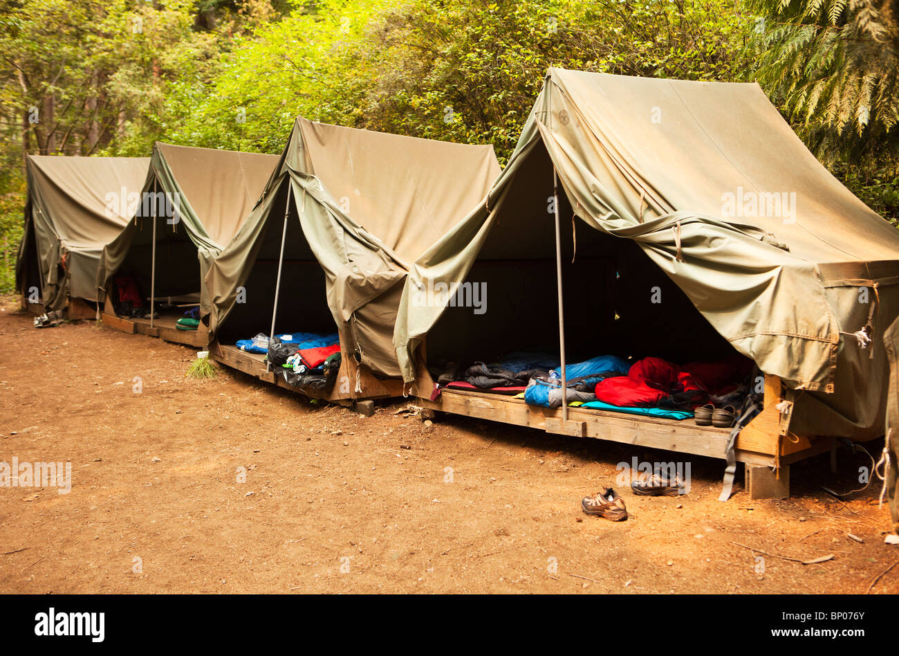 Roughing It At Summer Camp - Stock Image