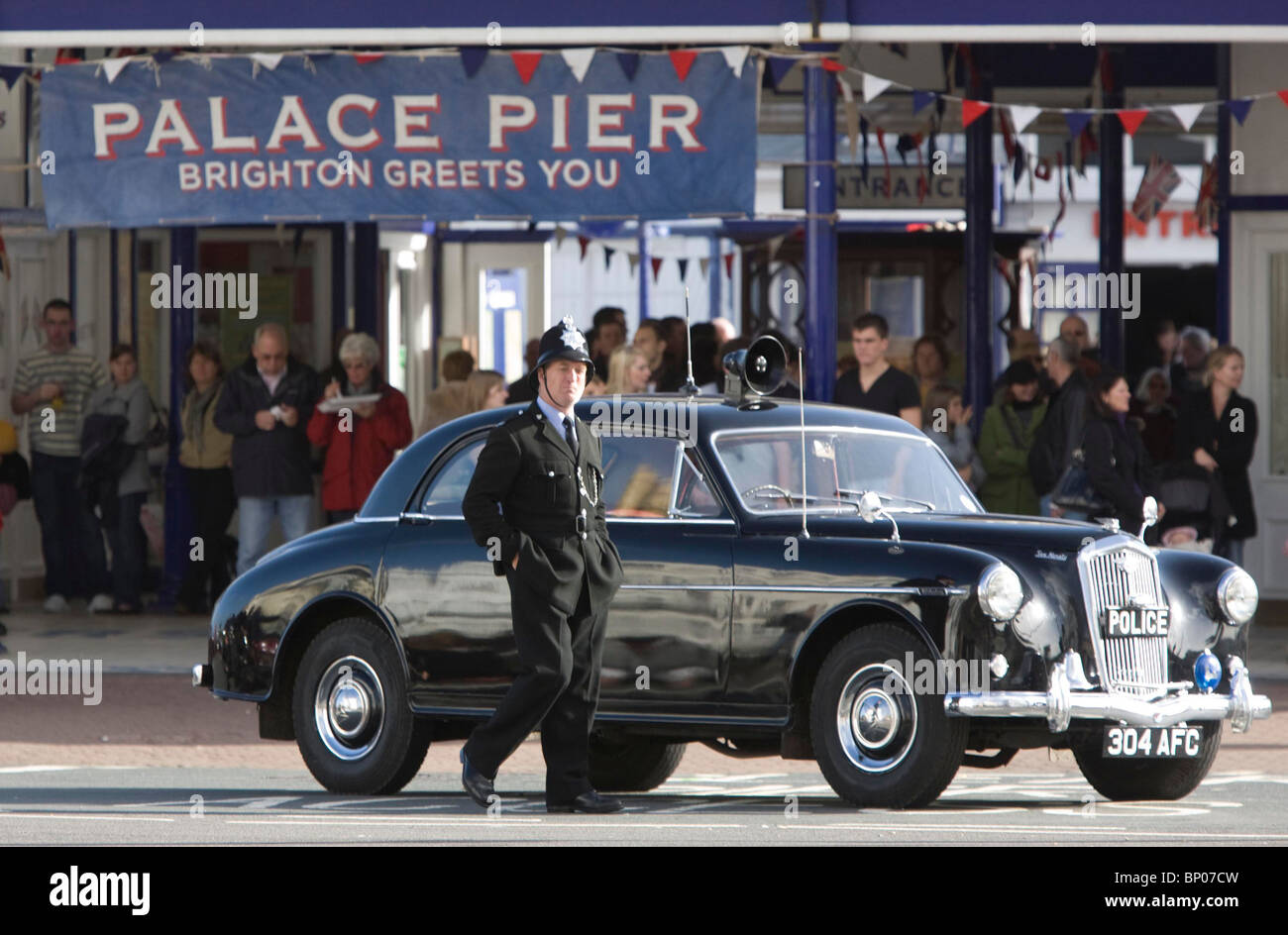 A actor dressed as a 1960's Policeman in Eastbourne. Picture by James Boardman - Stock Image