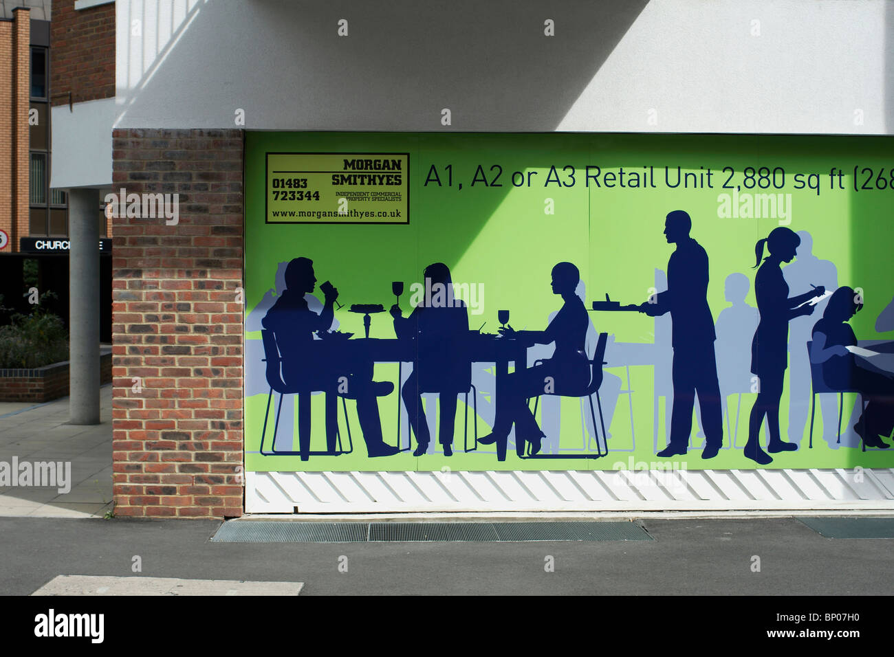 Retail unit advertising Woking Surrey England UK A1 A2 A3 - Stock Image