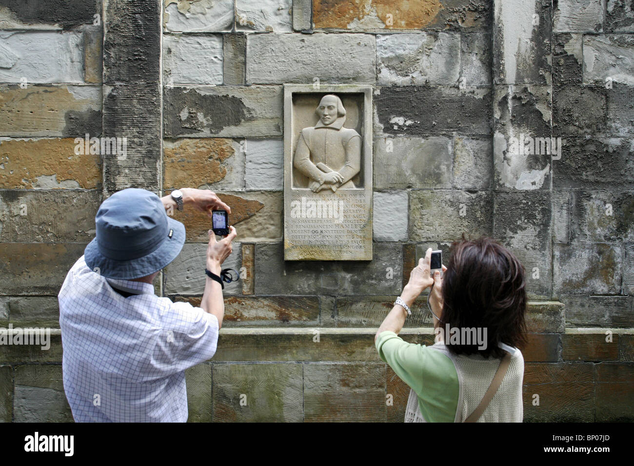 William Shakespeare Monument, Kronborg Castle, Helsingør, Zealand, Denmark - Stock Image