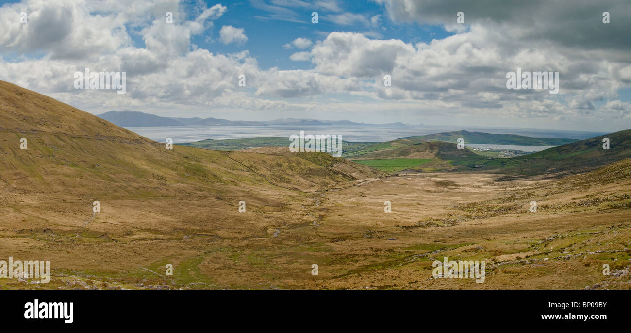 Wide Landscape looking down to the town of Dingle - Stock Image