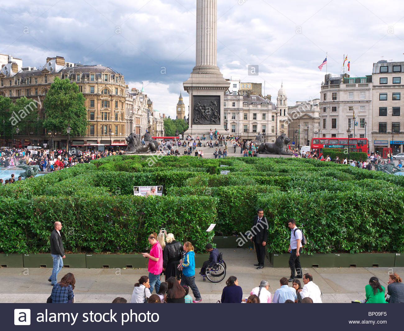 View of the temporary maze in London's Trafalgar Square during August 2010 - Stock Image