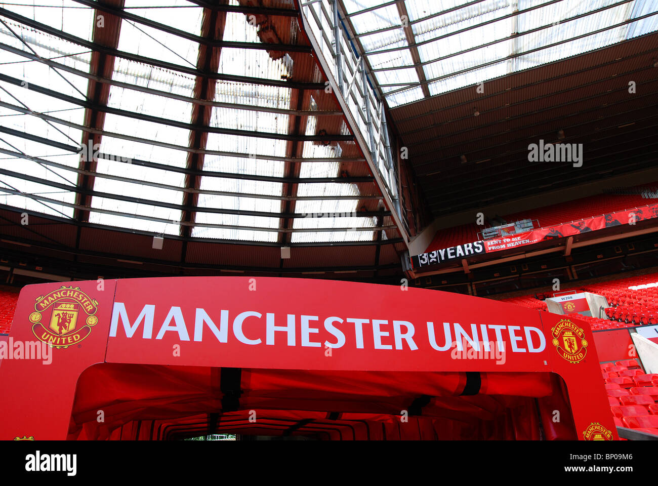 inside old trafford football stadium the home of manchester united f.c. - Stock Image