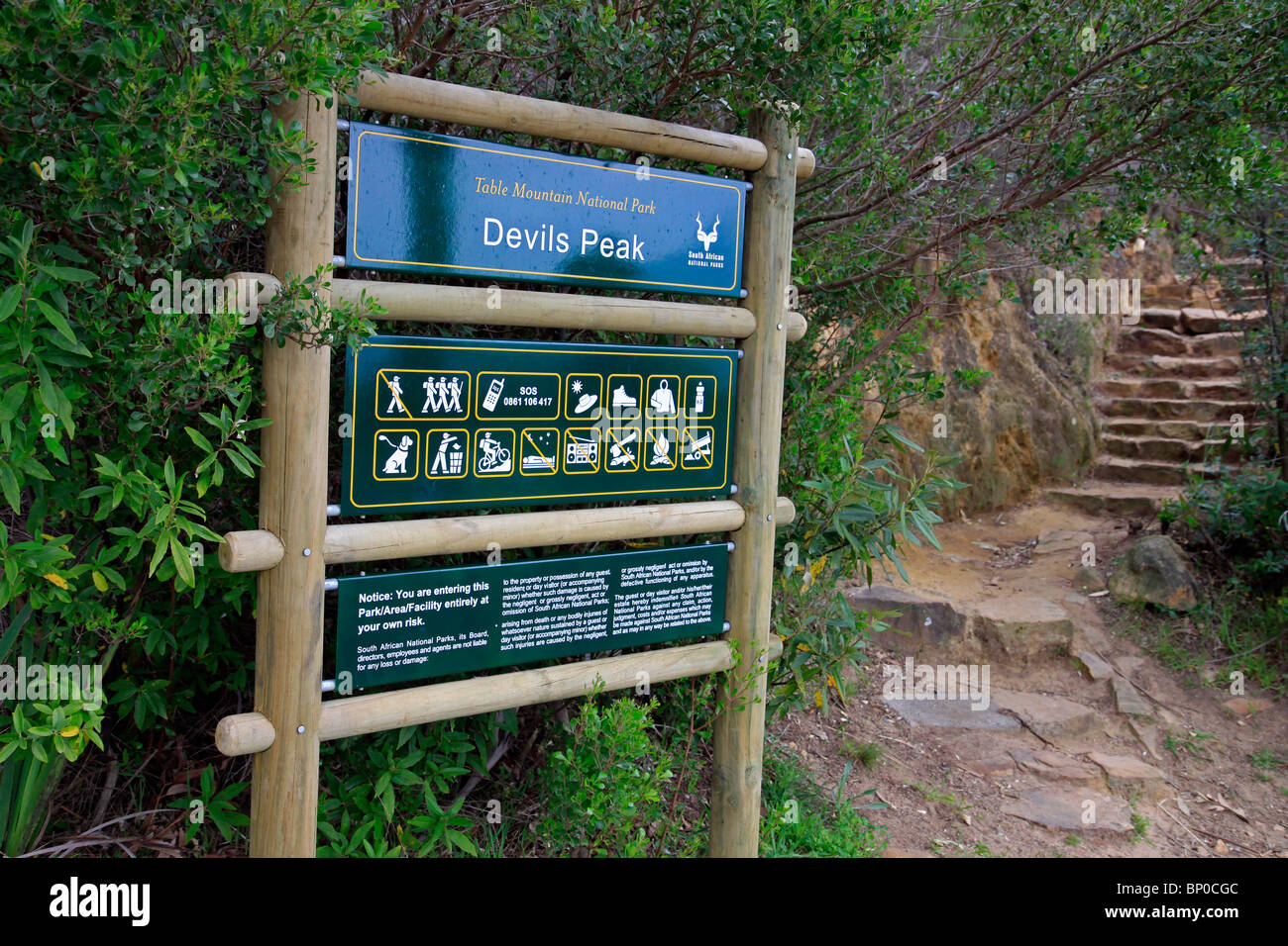 Information sign at Devil's Peak in the Table Mountain National Park - Stock Image