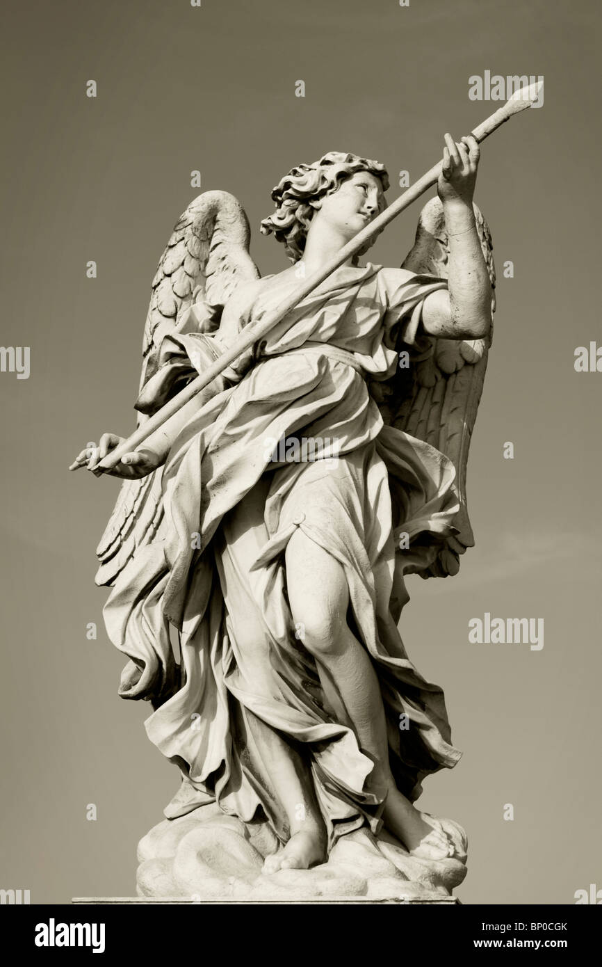 Sant' angelo bridge in Rome. Here a detail of one of the angels decorating the bridge in sepia tones - Stock Image