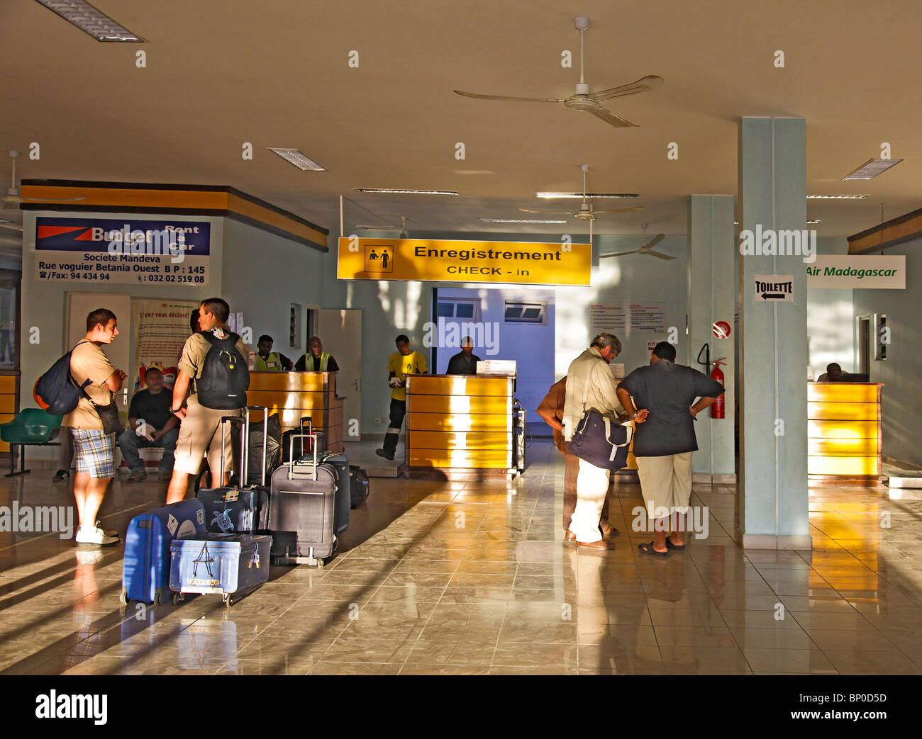 Inside the small airport in Toliara, aka Toliary, fka Tulear, south-western Madagascar - Stock Image