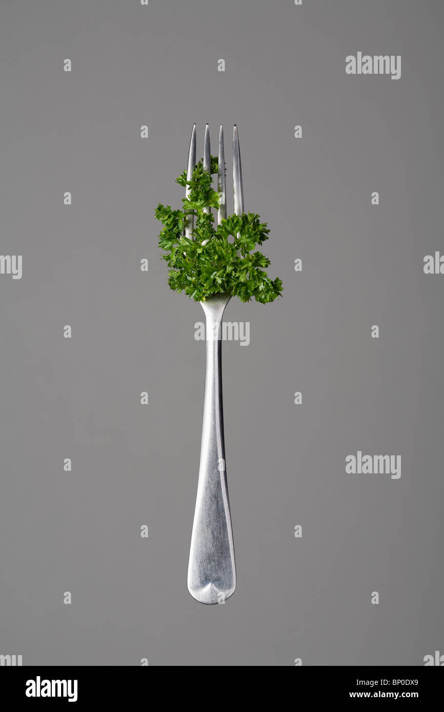 Fork with parsley - Stock Image