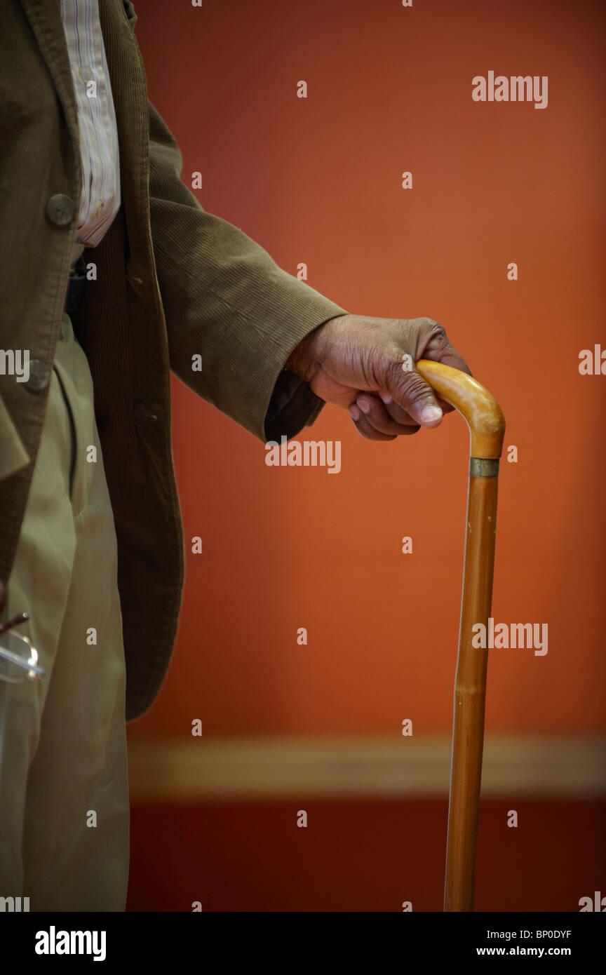 Elderly man's hand on walking stick - Stock Image