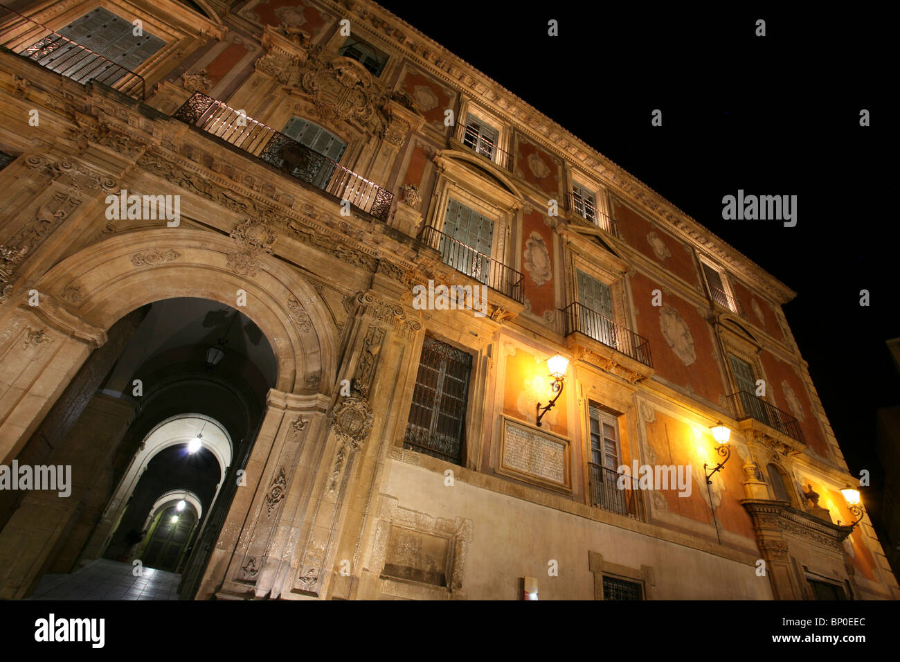 Episcopal Palace, Plaza del Cardenal Belluga at night, Murcia, Spain - Stock Image