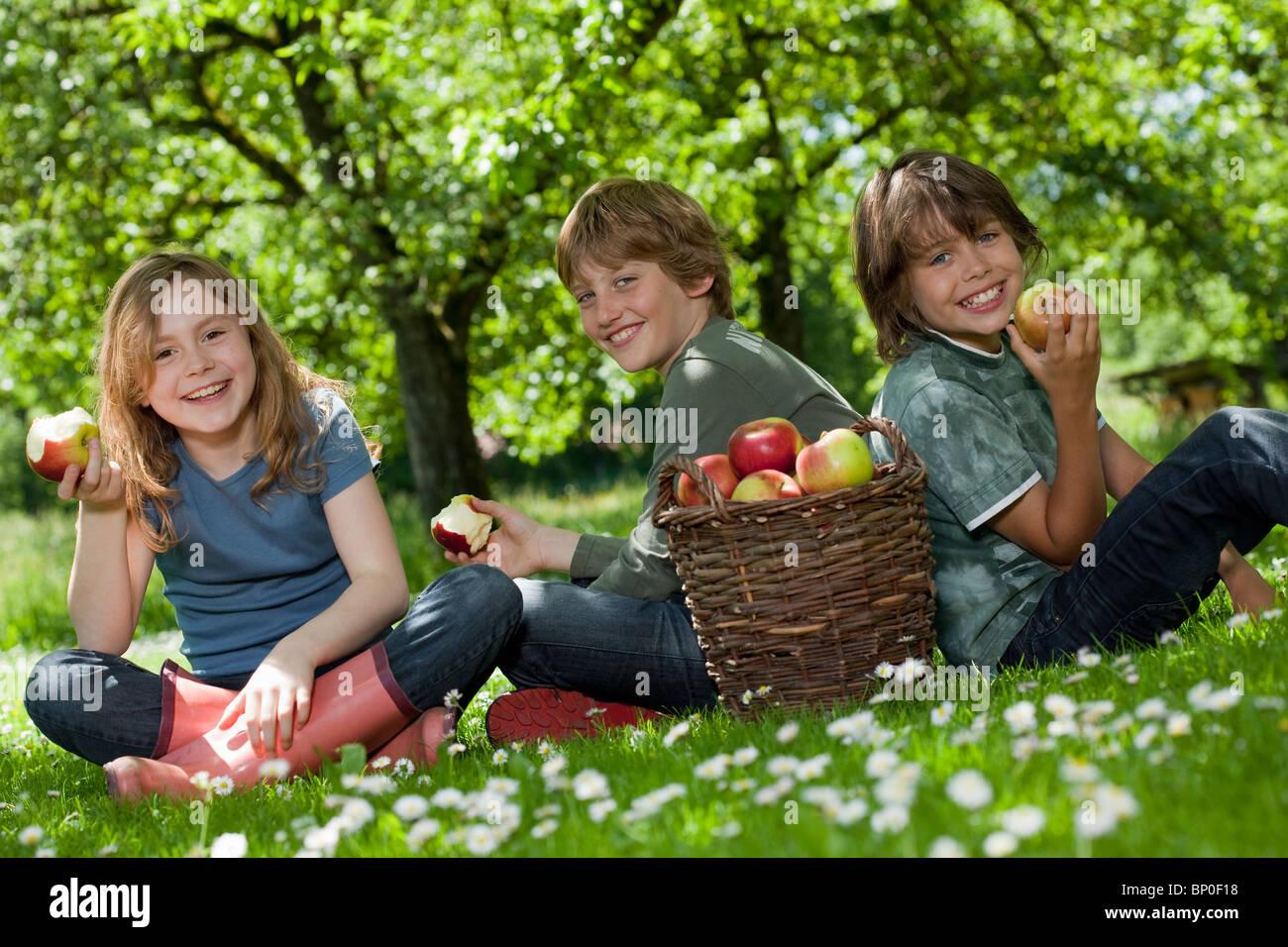 Kids in meadow, eating apples - Stock Image