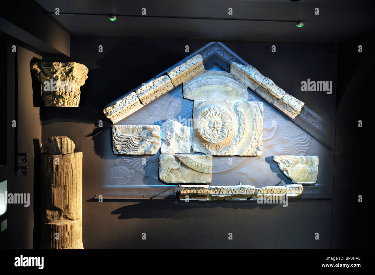 Display of Temple Pediment, Roman Temple of Sulis Minerva, Roman Baths, Bath, England - Stock Image