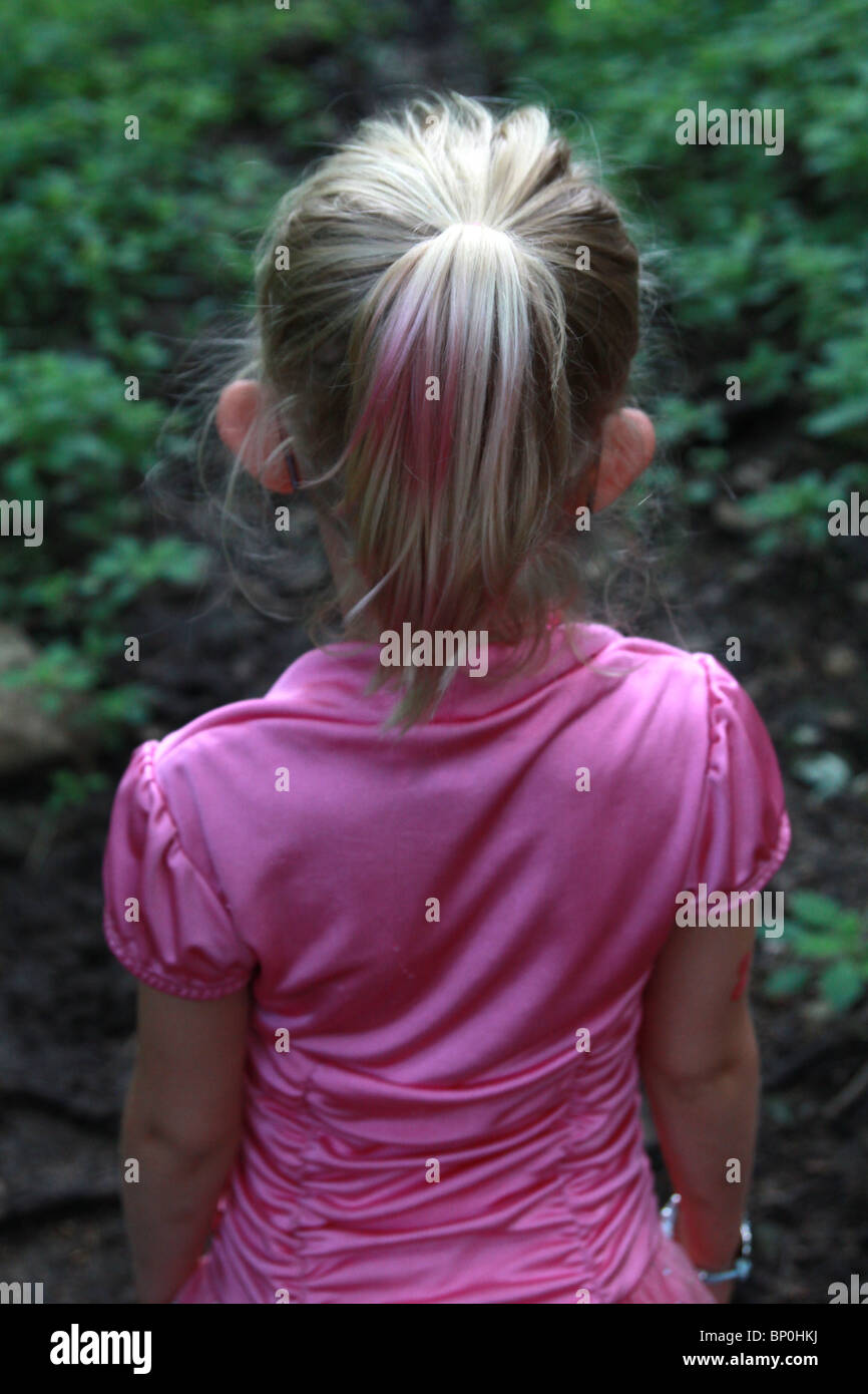 A 5 year old girl with a pink striped pony tail, as seen from behind. - Stock Image