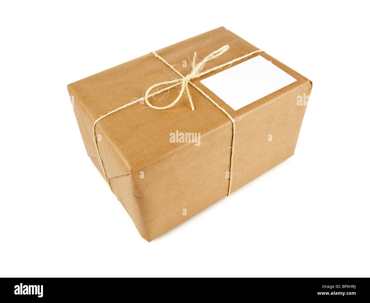 Parcel In Brown Wrapping Paper Bound With String Blank Address
