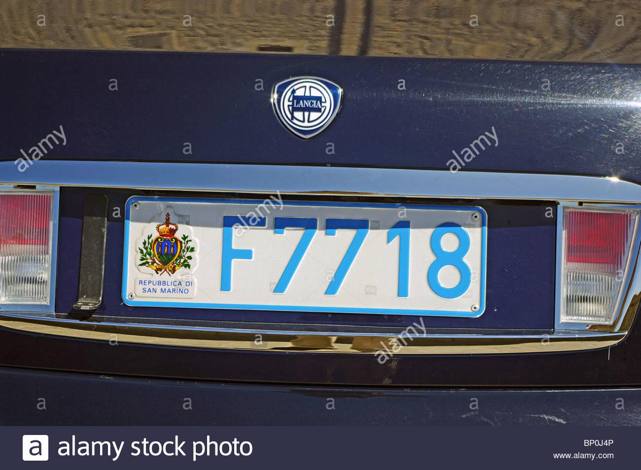 Car Number Plate San Marino City Europe Stock Photo 30747046 Alamy