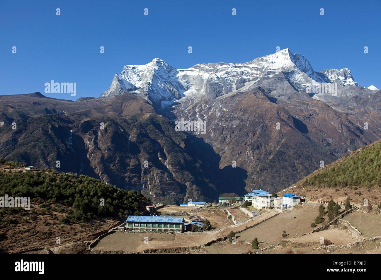 Nepal, Everest Region, Namche Bazaar, Khumbu Valley. The last town of any size on the Everest Base Camp trek - Stock Image