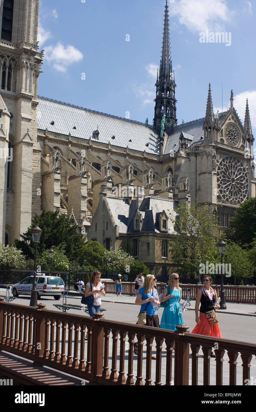 France, Paris, Pont au Double and Notre Dame cathedral - Stock Image