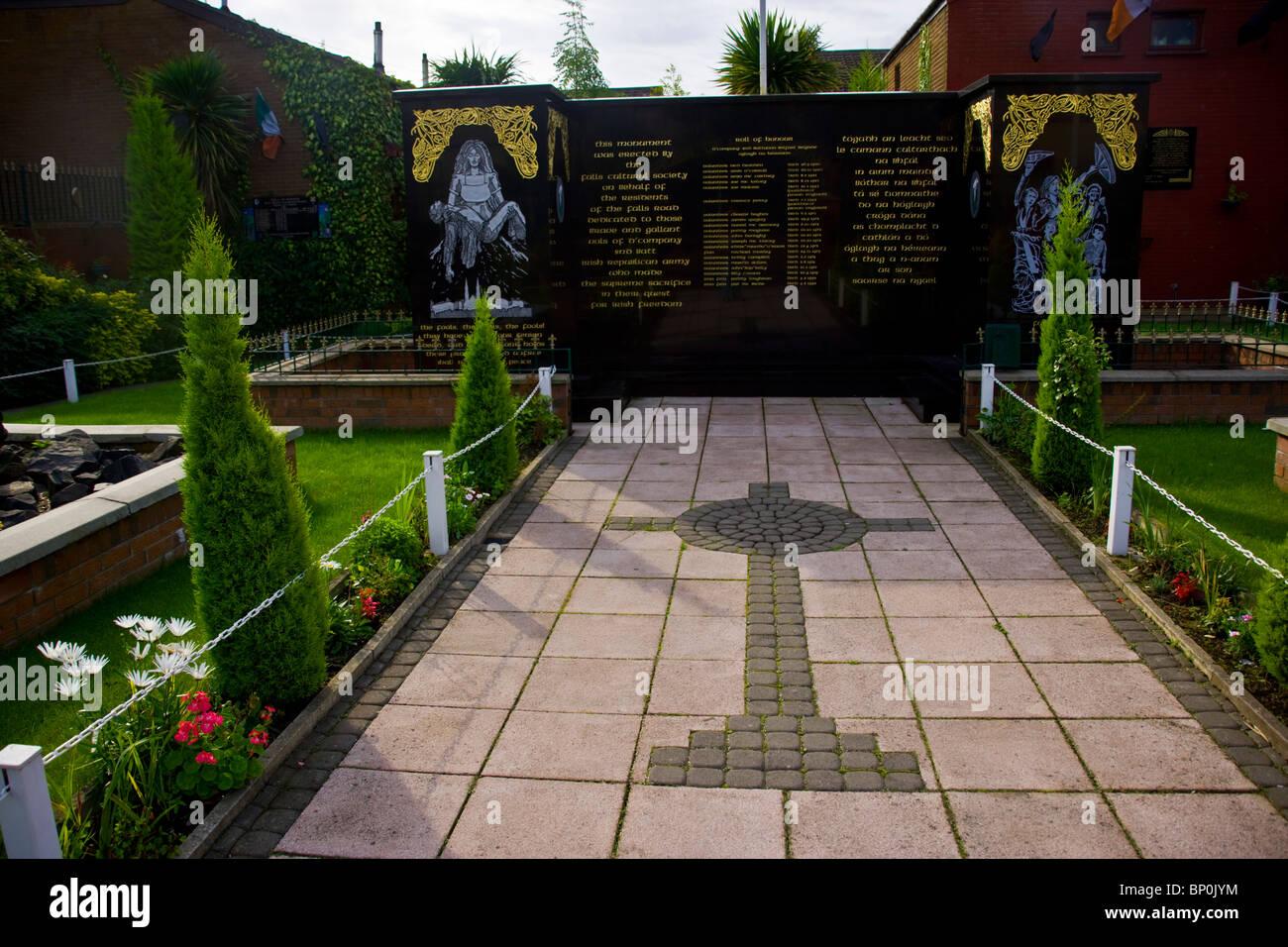 IRA Volunteers Memorial in Falls Road, West Belfast, North Ireland, UK. - Stock Image
