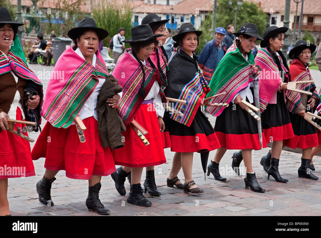 Christmas Day Parade.Peru Dancers For Parade On Christmas Day In Cusco S Square