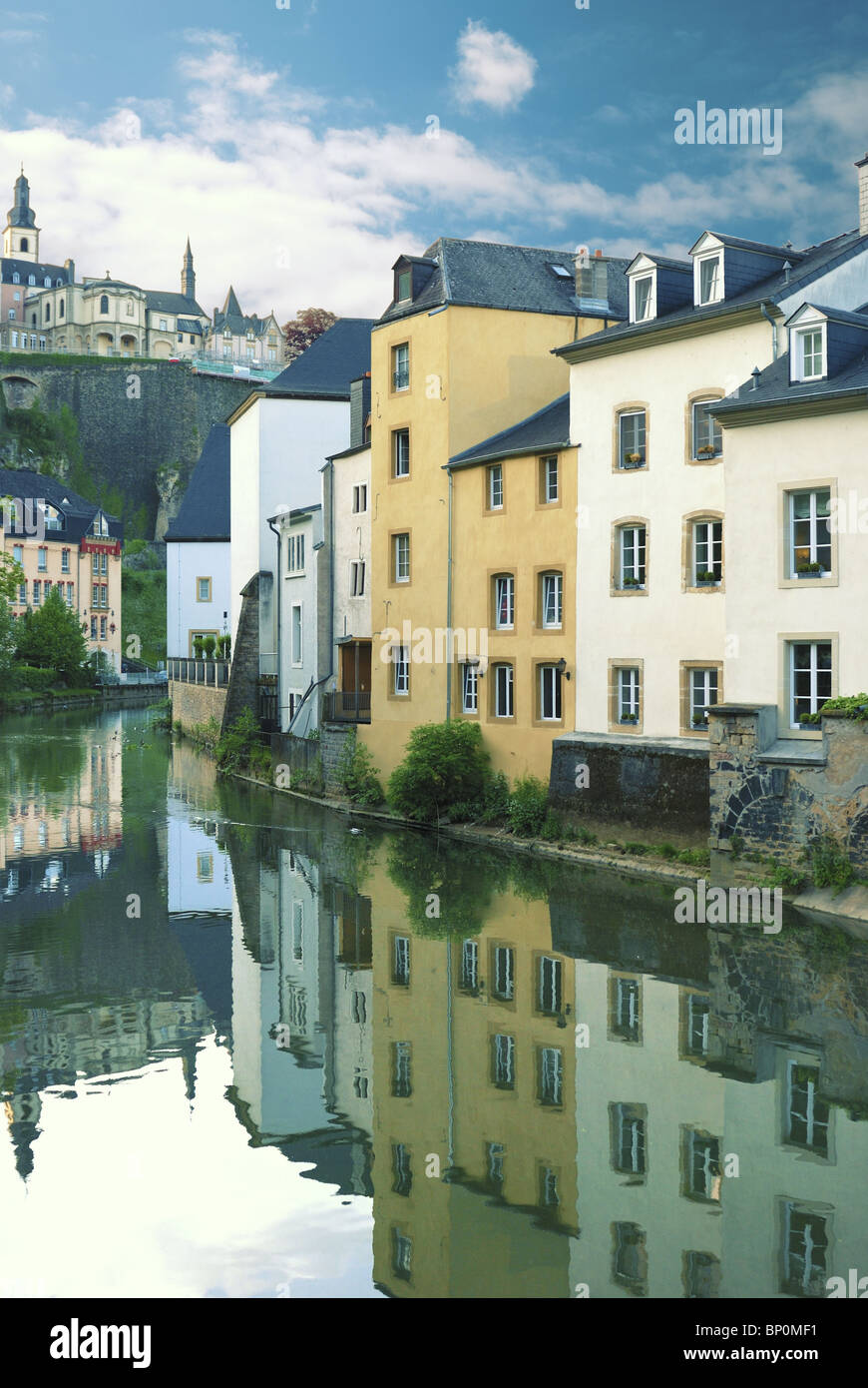 Alzette river in central Luxembourg quarter Gronn - Stock Image