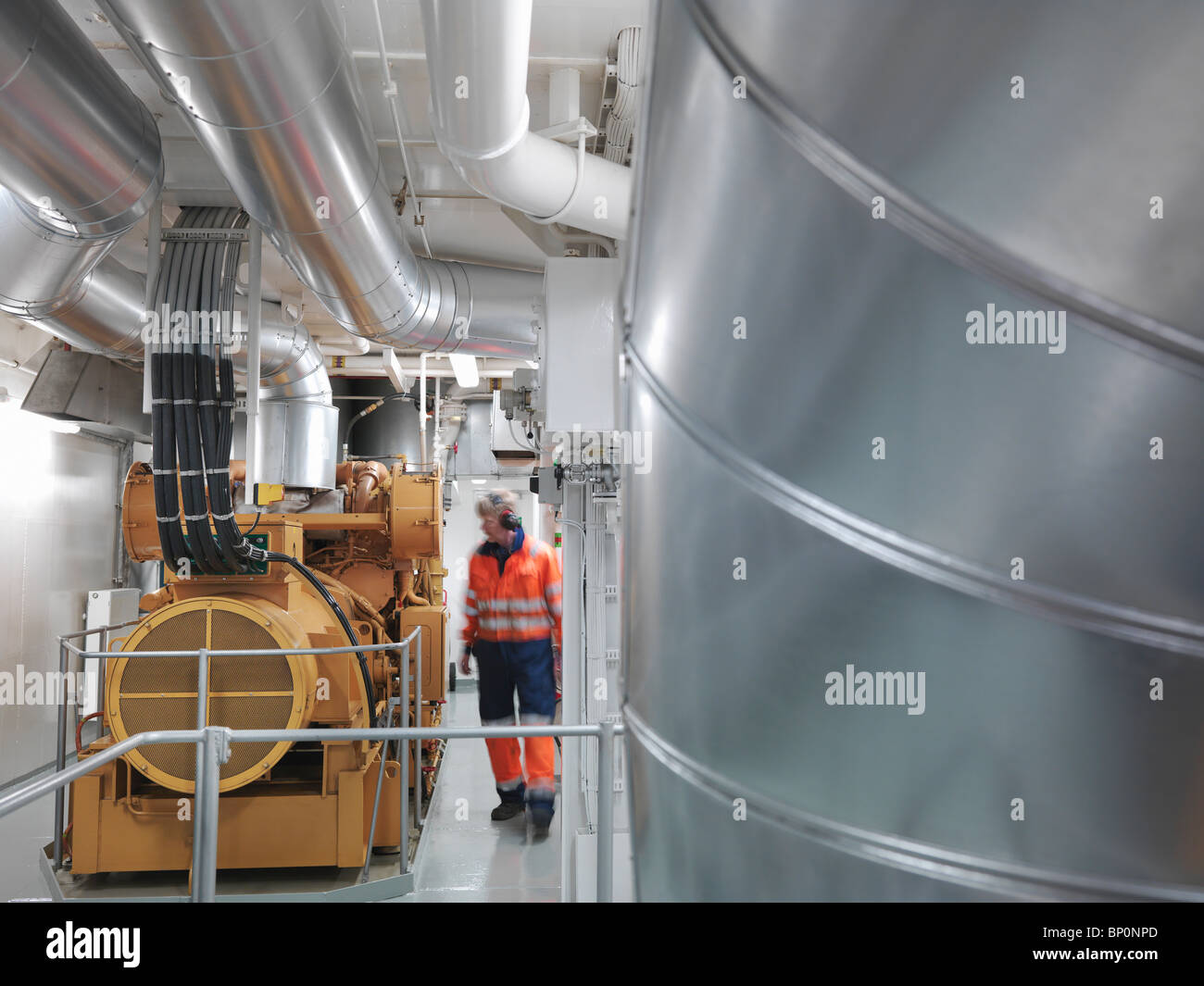 Engineer inspects Generator - Stock Image