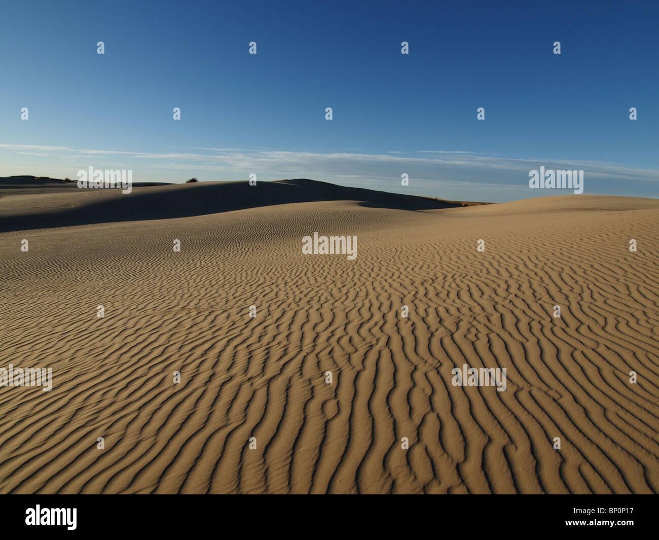 Sand dune patterns at Dumont Dunes in California's Mojave Desert. - Stock Image