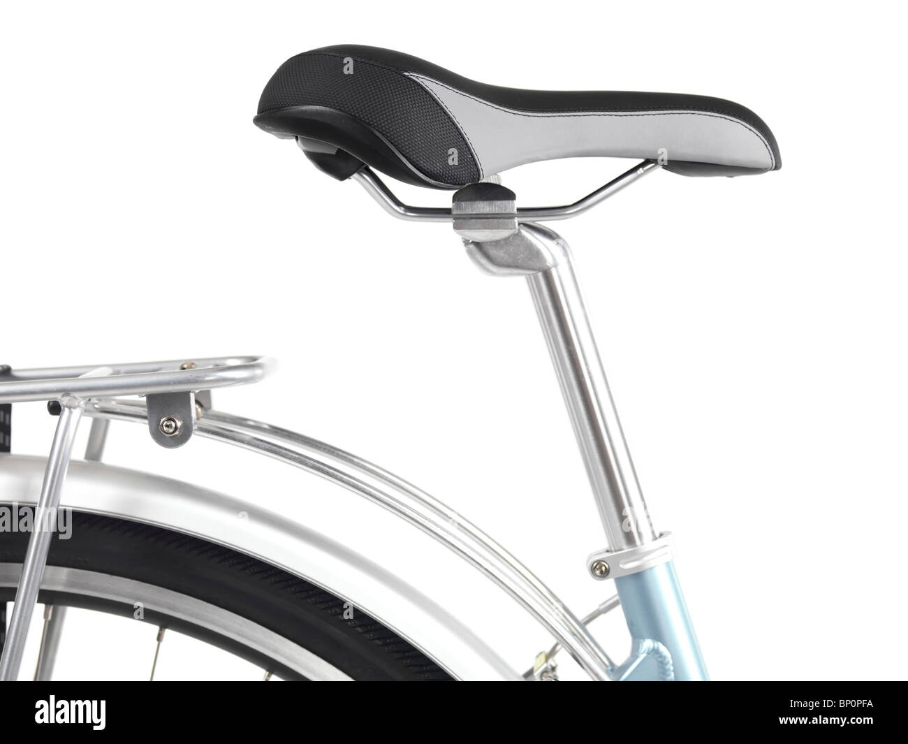 Closeup of a Bicycle seat isolated on white background - Stock Image