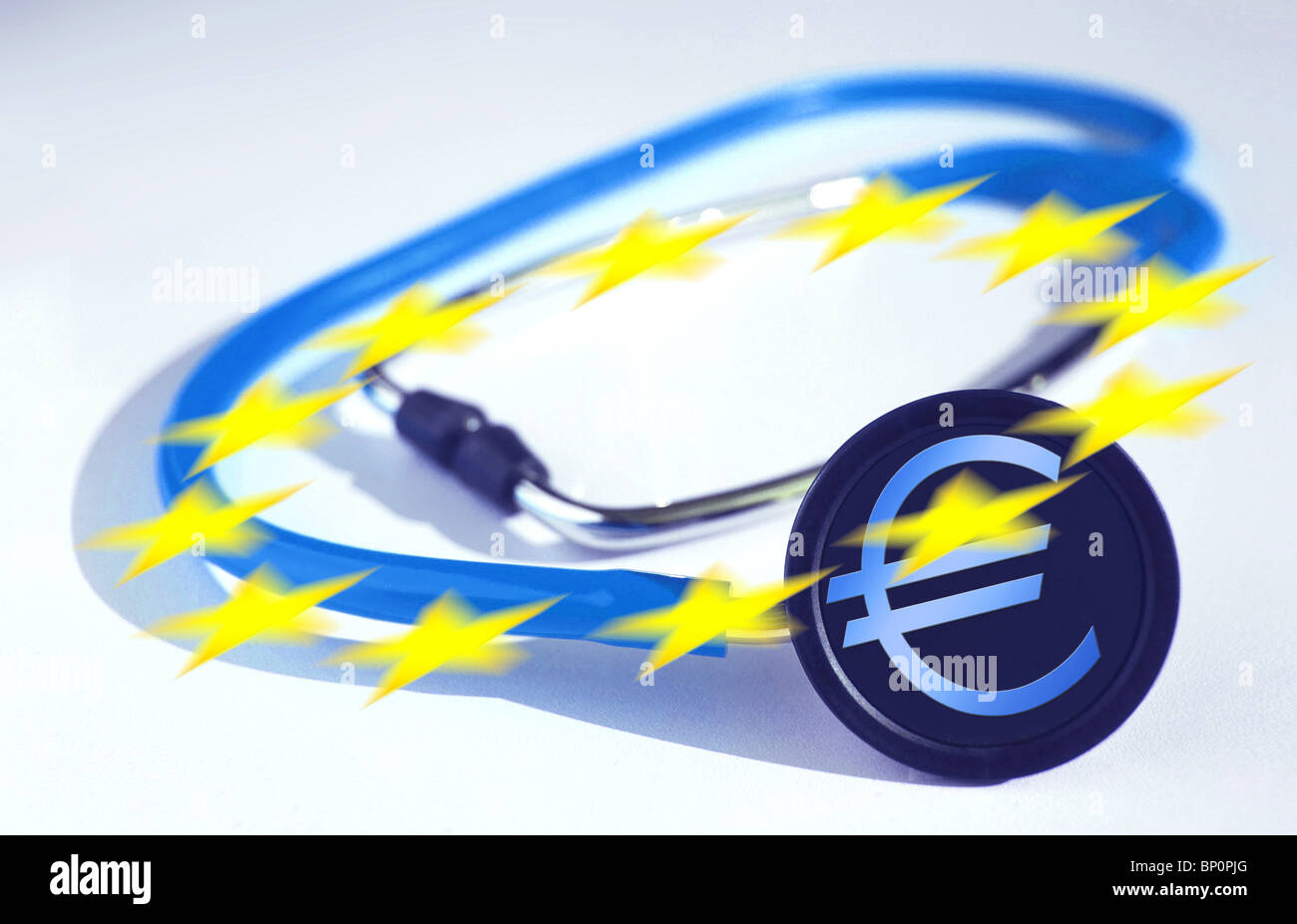 Stethoscope with Euro acronym, 12 stars of the European community flag - Stock Image