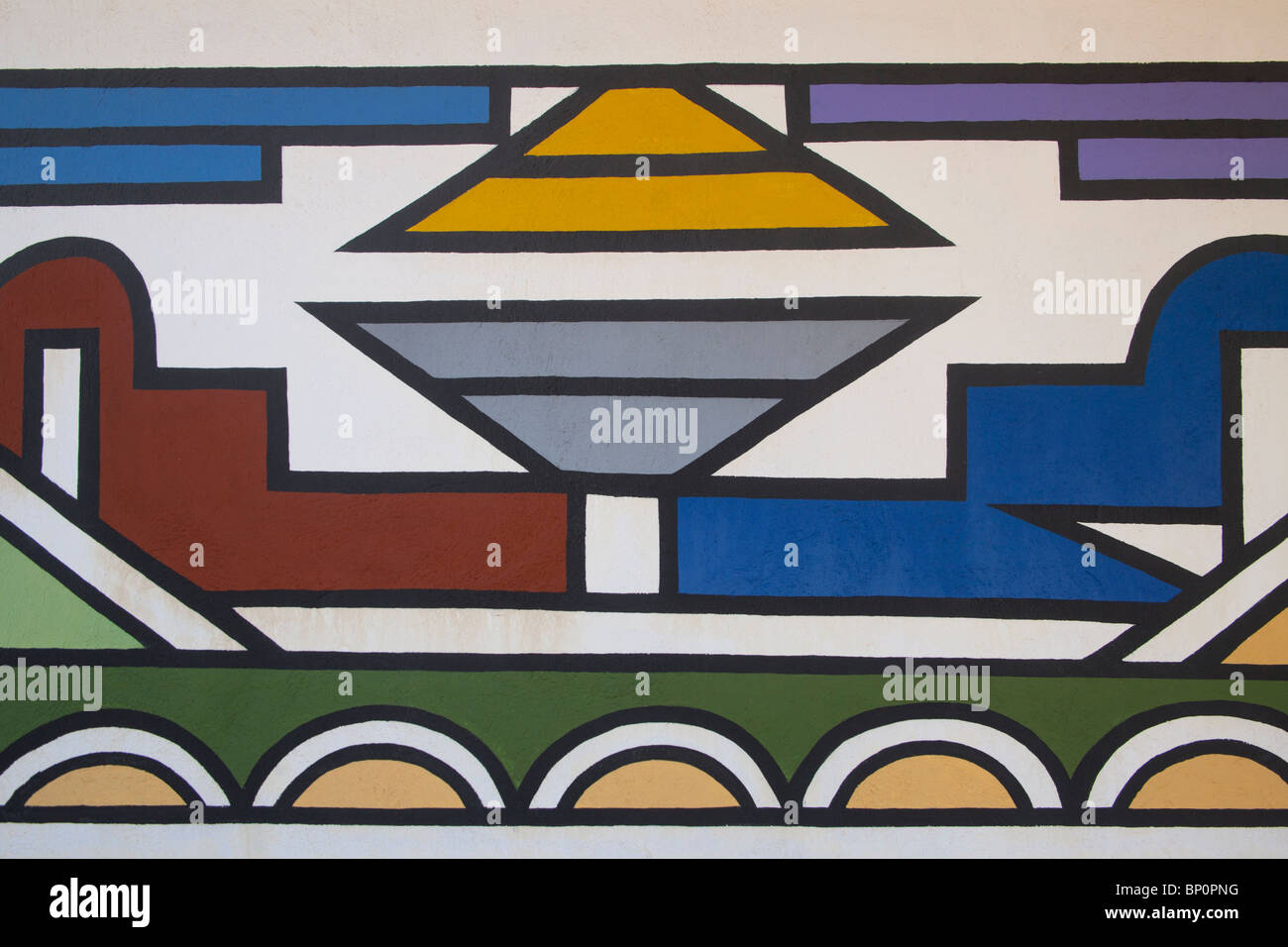 Typical Ndebele Pattern, Kwamhlanga,South Africa - Stock Image