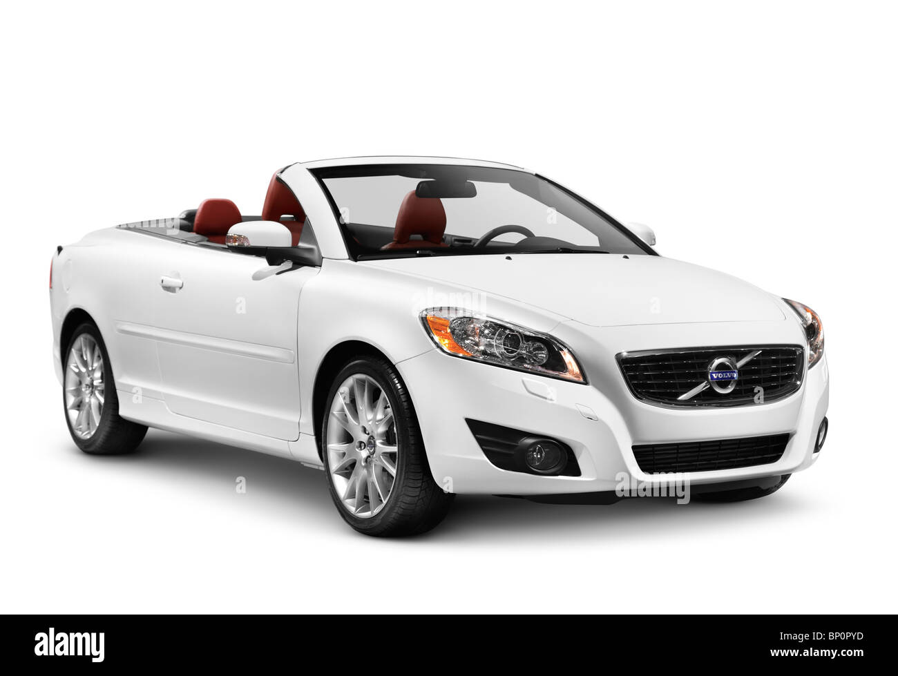 White 2011 Volvo C70 Coupe Convertible car isolated on white background with clipping path - Stock Image
