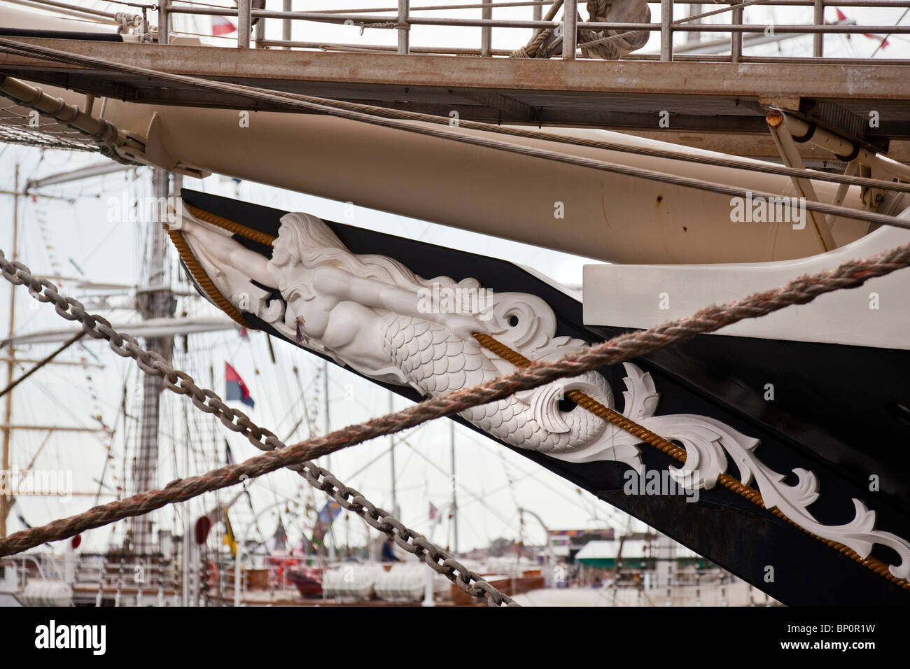 Figure Head from Sailing Ship in the Tall Ships Race 2010, Hartlepool, Cleveland, North East England, UK - Stock Image