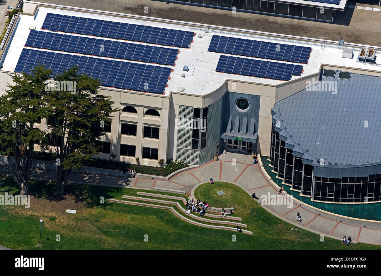 aerial view above solar panels installed on roof University of San Francisco - Stock Image