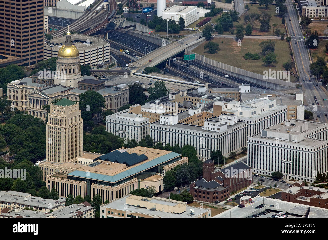 aerial view above Georgia State capitol building Atlanta Georgia - Stock Image
