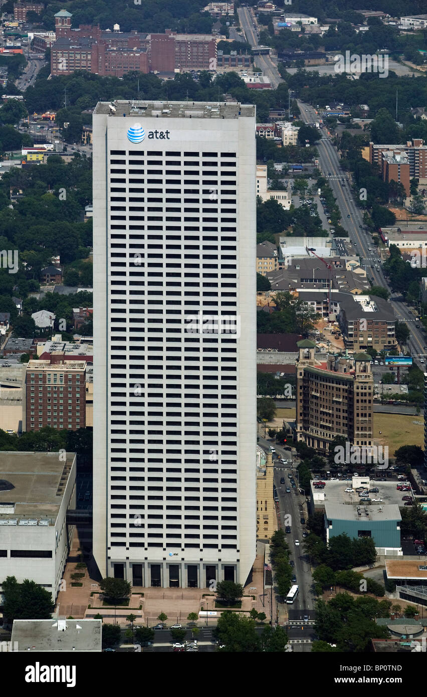 aerial view above AT&T Midtown Center Atlanta Georgia - Stock Image