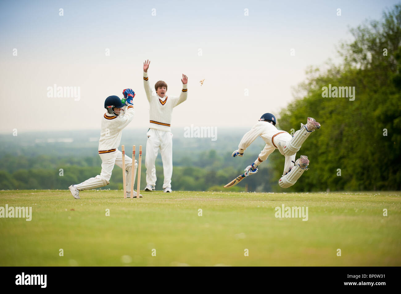School cricket run out - Stock Image