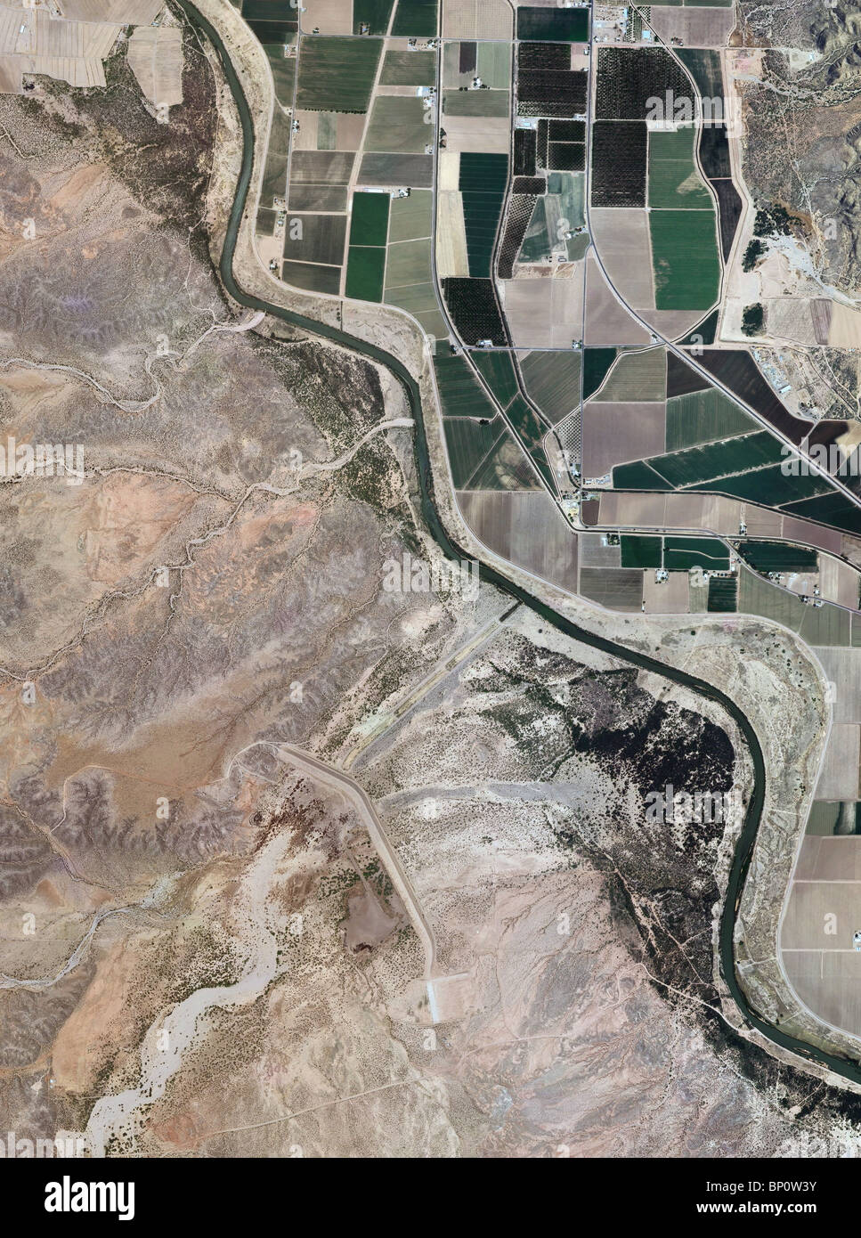 Rio Grande River New Mexico Map.Aerial Map View Above Rio Grande River Valley New Mexico Stock Photo