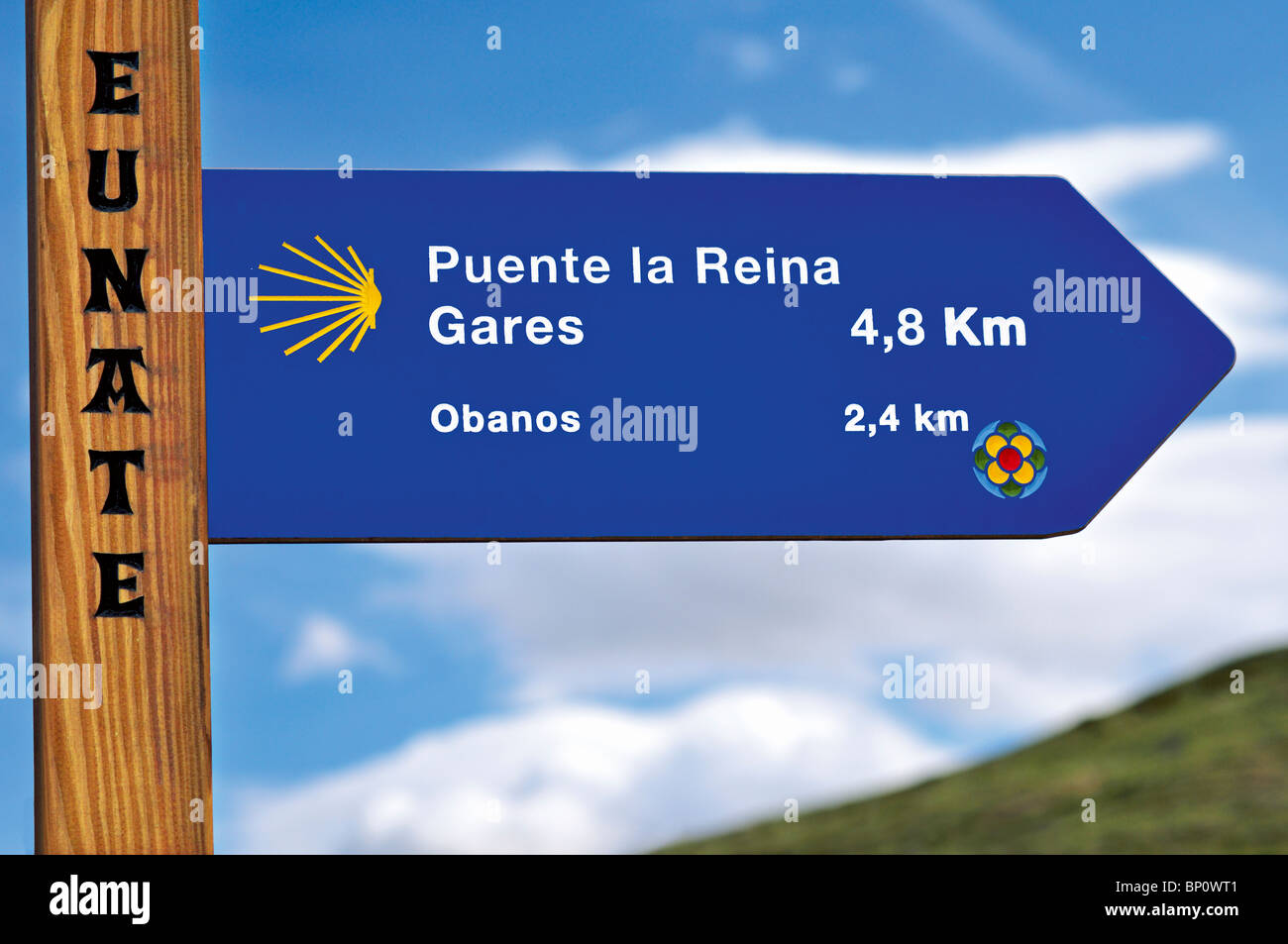 Spain, St. James Way: Direction Signal in Eunate - Stock Image