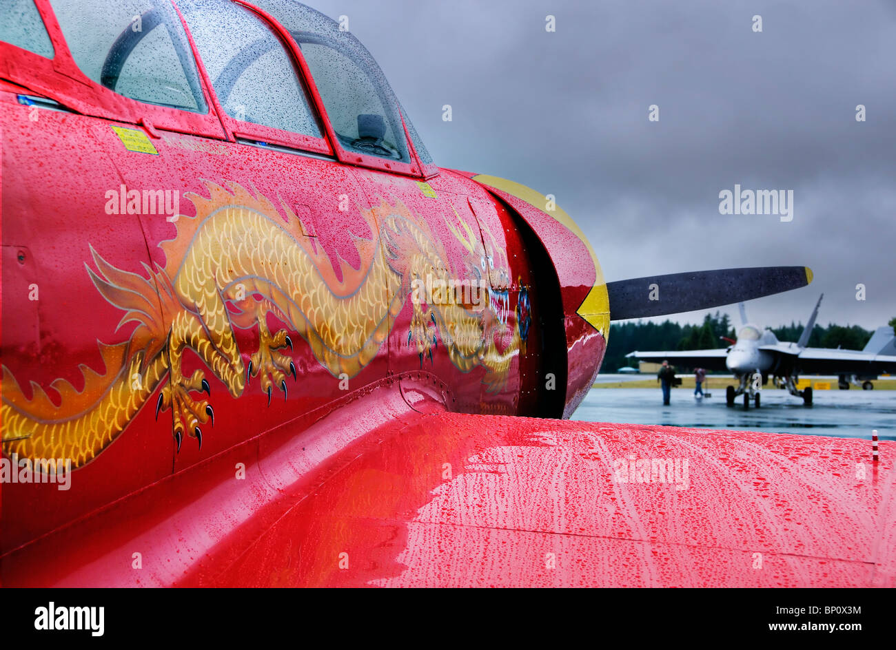 View looking along the side of a beautifully painted red Nanchang CJ-6A warbird at the Olympic Airshow in Tumwater, - Stock Image