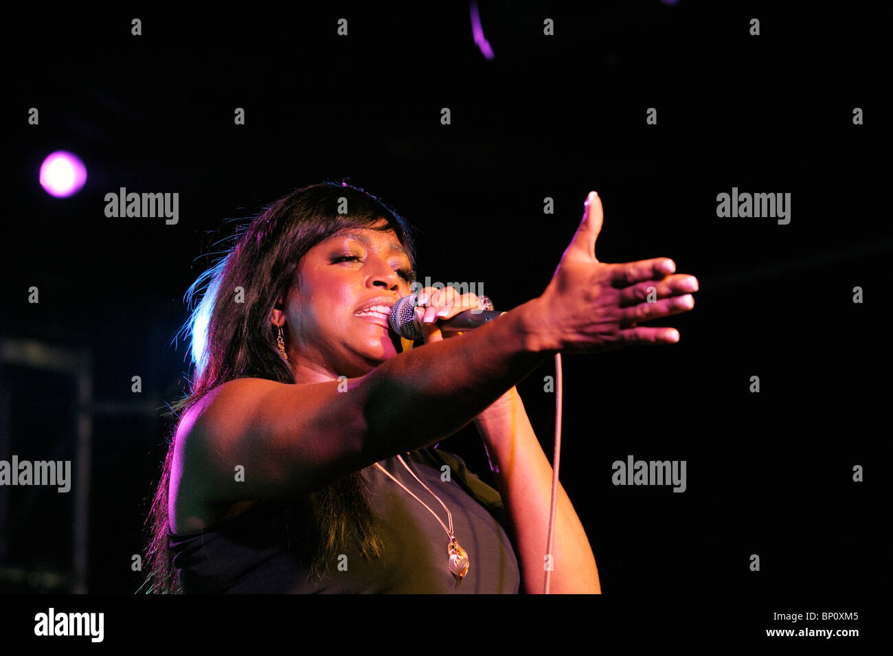 Mica Paris, English soul blues singer performing in the main stage marquee. Maryport Blues Festival, 2010. Cumbria, - Stock Image
