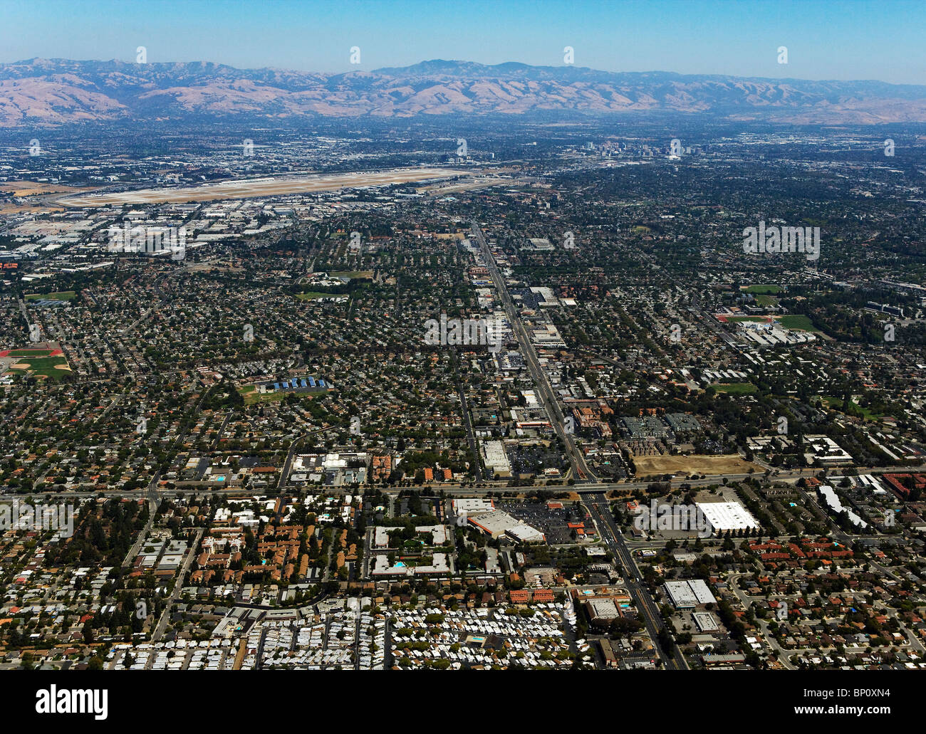 aerial view above Silicon Valley toward San Jose airport and downtown San Jose - Stock Image